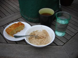Pineapple-Corn Bread, Super Oatmeal, Chai Tea, and Water